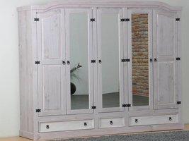 New Mexico 5-deurs kledingkast grijs grenen met spiegeldeur