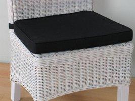 Stoelkussen zwart voor rotan stoel Larissa - 45x42 cm
