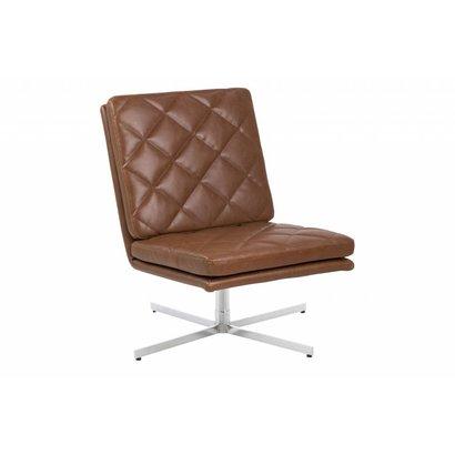 FYN Colt fauteuil draaistoel kunstleer vintage cognac - metalen voet