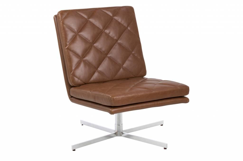 Colt fauteuil draaistoel kunstleer vintage cognac metalen voet