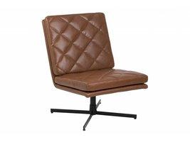 FYN Colt fauteuil draaistoel kunstleer vintage cognac - zwarte voet