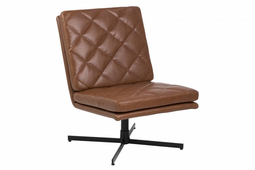 Colt fauteuil draaistoel kunstleer vintage cognac zwarte voet