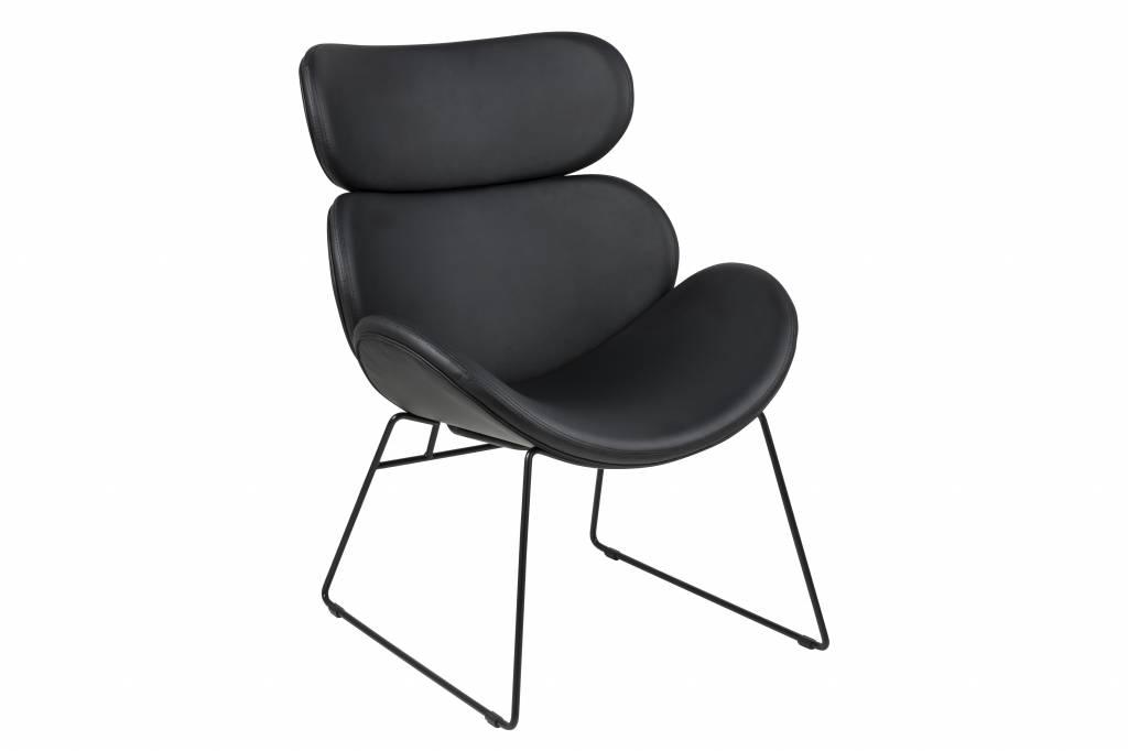 Cazy fauteuil kunstleer zwart zwart onderstel