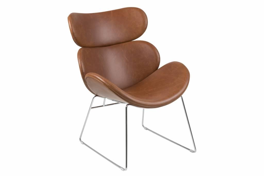 Cazy fauteuil kunstleer vintage cognac bruin chromen onderstel