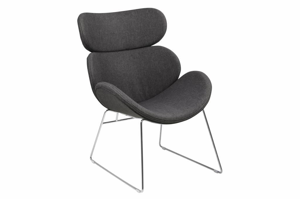Cazy fauteuil stof grijs chromen onderstel