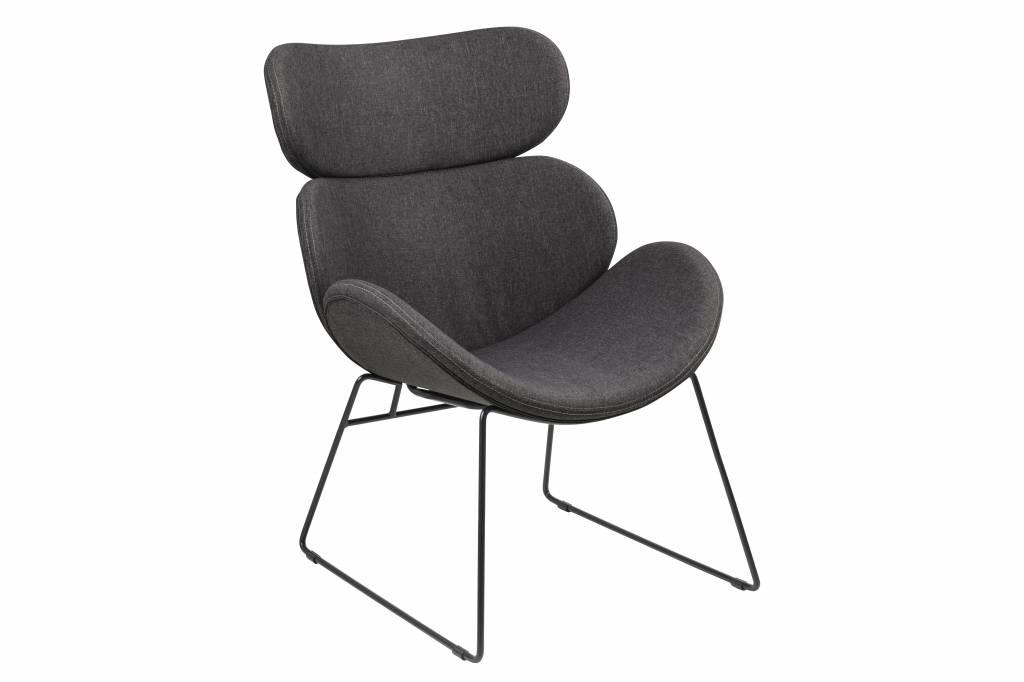 Cazy fauteuil grijs zwart onderstel