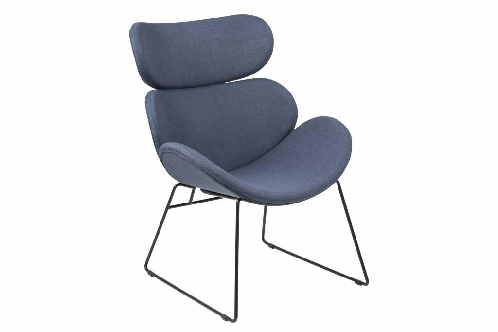 Cazy fauteuil donkerblauw zwart onderstel