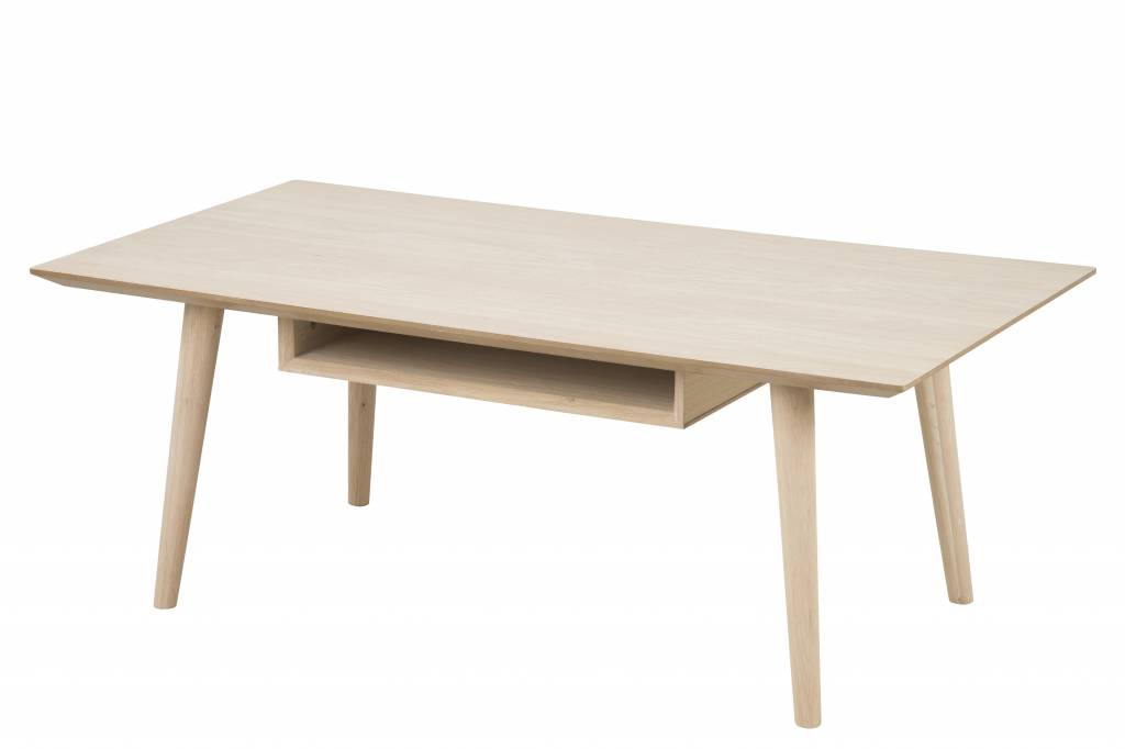 Cent salontafel met 1 plank eiken geloogd wit 115x60x42 cm