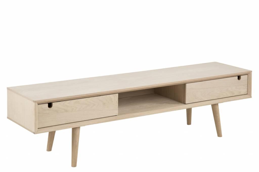 Cent TV meubel met 2 schuifdeuren eiken geloogd wit 160 cm breed