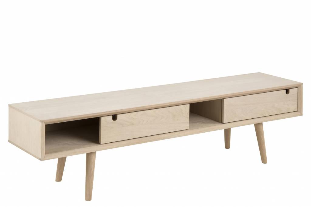 Eikenhout Tv Meubel : Cent tv meubel met schuifdeuren eiken geloogd wit cm breed