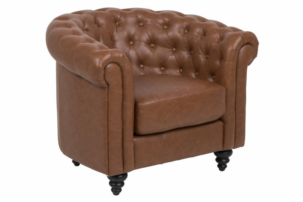 Charlie fauteuil vintage kunstleer cognac bruin met zwarte poten