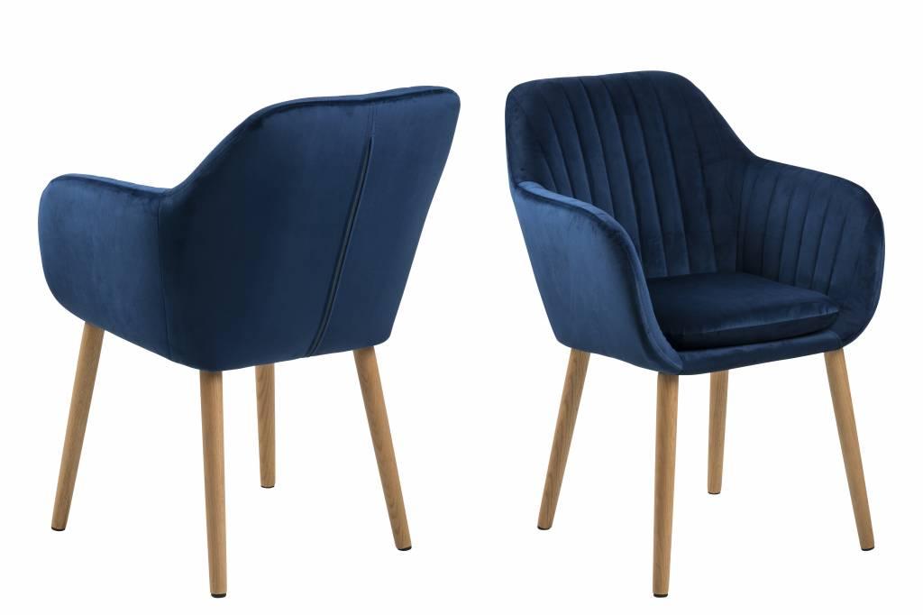 Emil fauteuil stof met verticale naden blauw