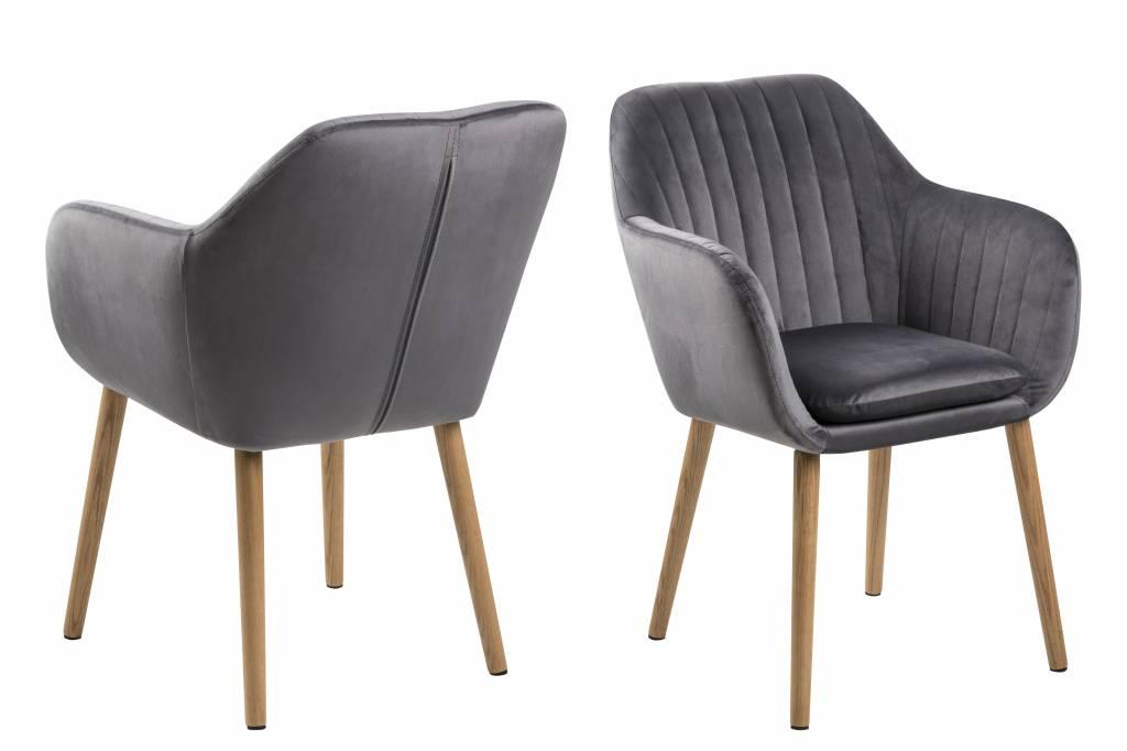 Emil fauteuil stof Corsica met verticale naden donkergrijs
