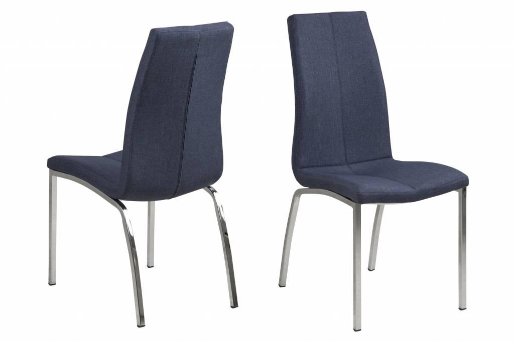 Amin eetkamerstoel stof donkerblauw set van 4 stoelen