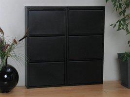 Pisa schoenenkast zwart metaal met 3 vakken - set van 2