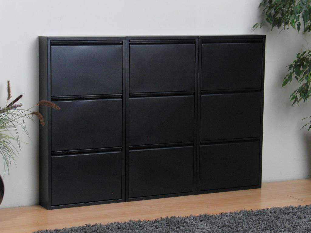 Pisa schoenenkast zwart metaal met 3 vakken set van 3