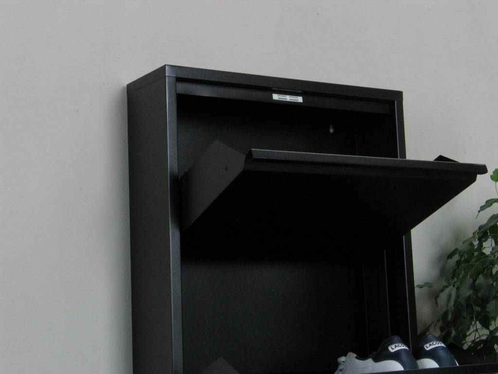 Schoenenkast Met Spiegel : Pisa schoenenkast zwart metaal met 5 vakken set van 2