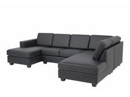 FYN Wise hoekbank U-vorm met chaise longue links bonded leather zwart