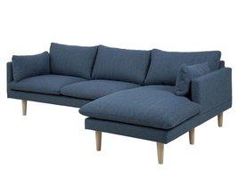 FYN Samanta 2-zitsbank met chaise longue rechts stof blauw
