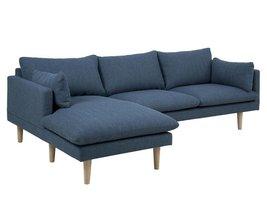 FYN Samanta 2-zitsbank met chaise longue links stof blauw