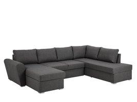 FYN Stan hoekbank slaapbank met chaise longue links en opbergruimte stof grijs
