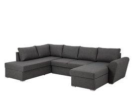 FYN Stan hoekbank slaapbank met chaise longue rechts en opbergruimte stof grijs