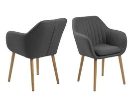 FYN Emil fauteuil stof VIC met verticale naden - donkergrijs