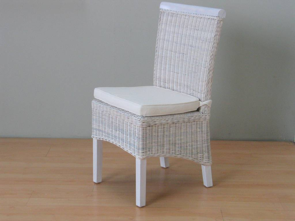 Rotan stoel wit met kussen larissa