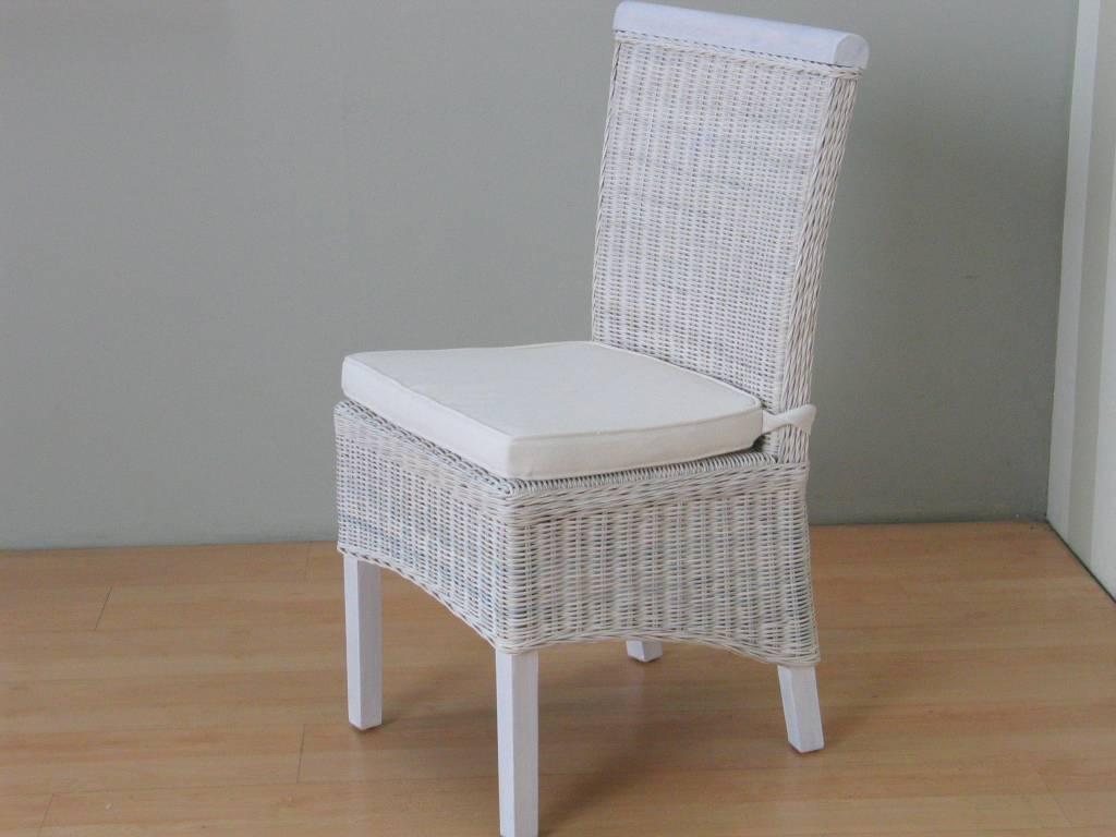 Witte Rieten Stoel : Rotan stoel wit met kussen larissa