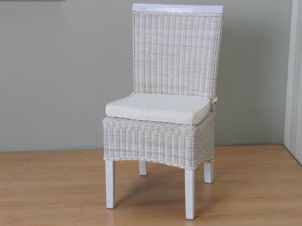 Stoel Rotan Wit : Rotan stoel wit met kussen larissa