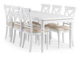 Charlot eethoek - tafel met aansteekplaat en 6 stoelen wit