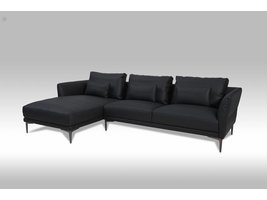Solliden Barly 3-zitsbank met chaise longue links bonded leather zwart