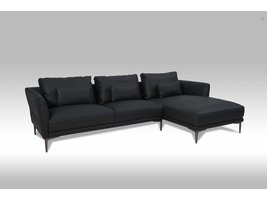 Solliden Barly 3-zitsbank met chaise longue rechts bonded leather zwart