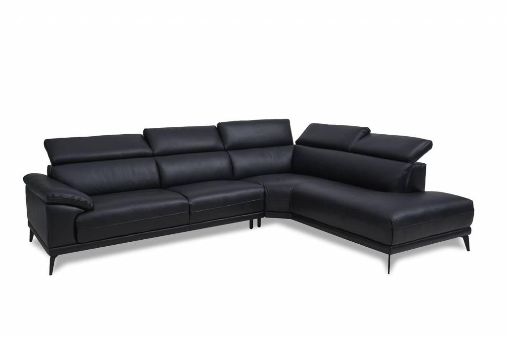 Solliden samos luxe leren hoekbank rechts zwart met verstelbare