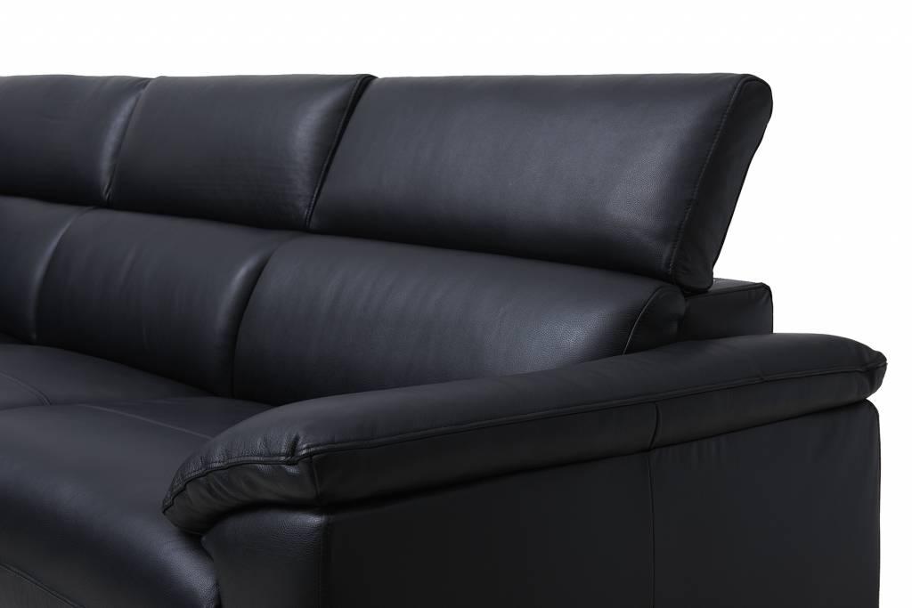 Solliden samos luxe leren hoekbank links zwart met verstelbare