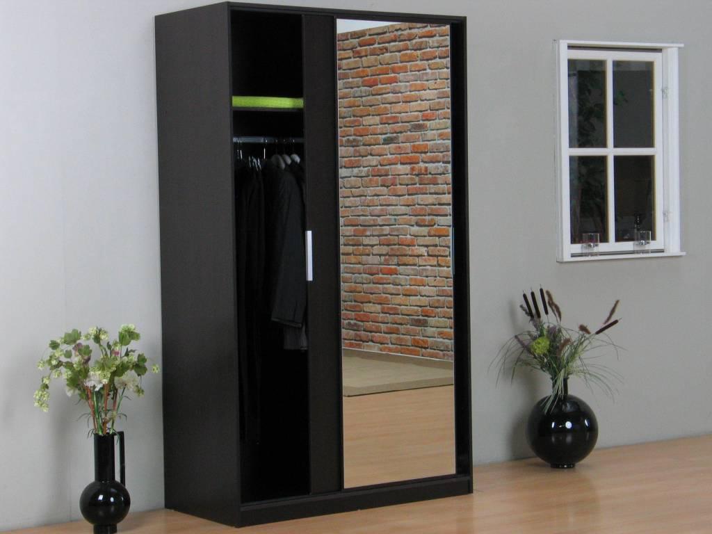 Tvilum kaja schuifdeurkast 2 deurs kledingkast met spiegel espressokleur