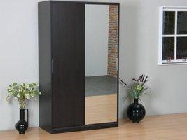 Tvilum Kaja schuifdeurkast 2-deurs kledingkast met spiegel espressokleur