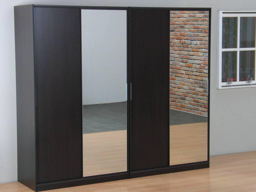 Tvilum kaja schuifdeurkast 4 deurs kledingkast met spiegel espressokleur