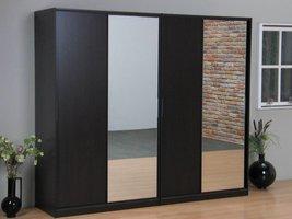 Tvilum Kaja schuifdeurkast 4-deurs kledingkast met spiegel espressokleur