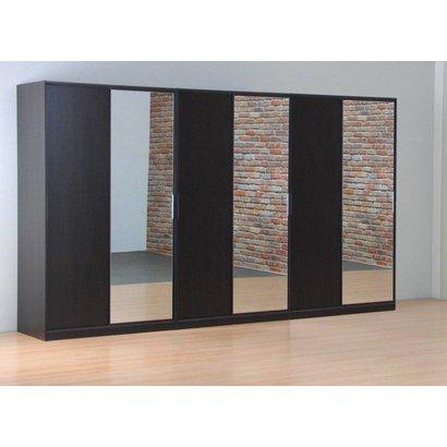 Tvilum Kaja schuifdeurkast 6-deurs kledingkast met spiegel espressokleur