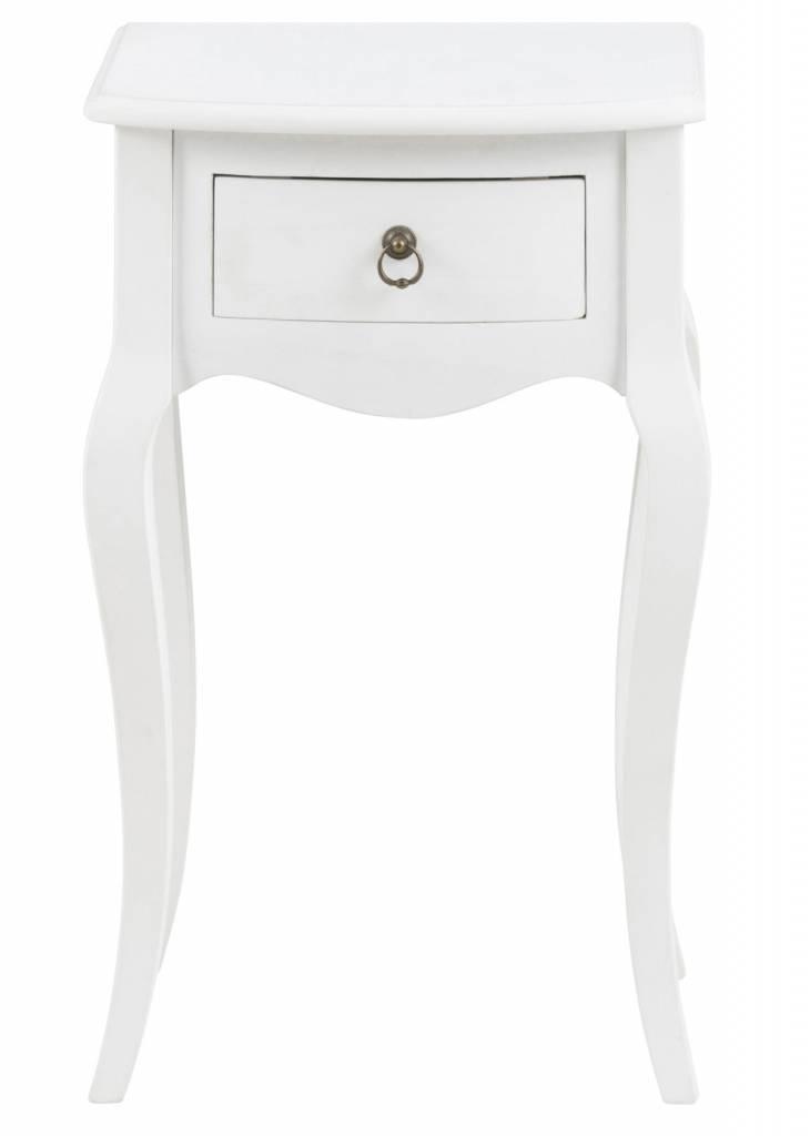 FYN Cicco nachtkastje met 1 lade antiek look wit - opgebouwd