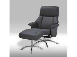 Solliden Dram fauteuil met hocker zwart leder