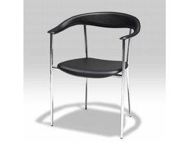 Solliden Kumo leren eetkamerstoel zwart - set van 4 stoelen