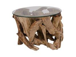 Norrut Graf salontafel rond teakhout met glazen plaat
