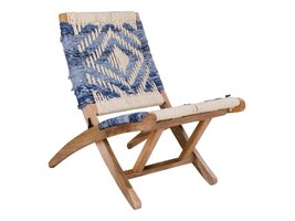 Norrut Gayo vouwstoel in gevlochten katoen met mangohout onderstel