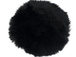 Mauris stoelkussen rond Ø35 cm lamsvel zwart uit Nieuw Zeeland
