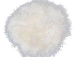 Mauris stoelkussen rond Ø35 cm lamsvel wit uit Nieuw Zeeland