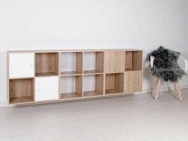 Stripe wandkast modulair met 12 vakken en 4 deurtjes wit