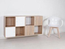 Stripe wandkast modulair met 8 vakken en 2x2 deurtjes wit / 3D sonoma eiken