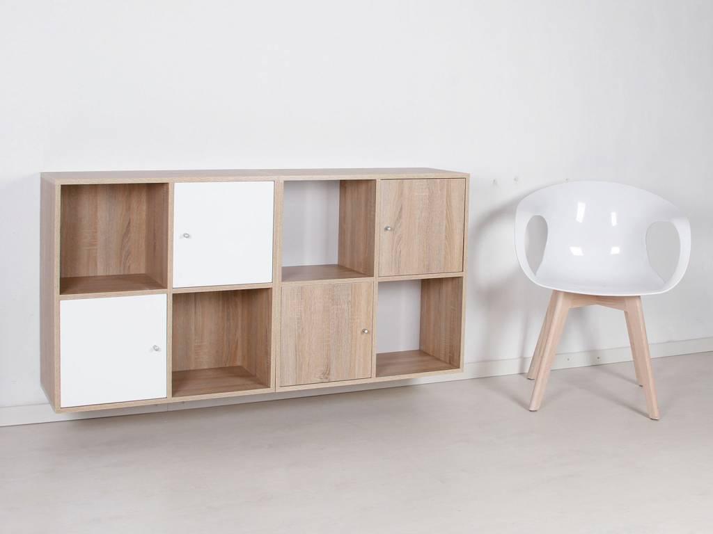 Keuken Wandkast 8 : Stripe wandkast modulair met vakken en deurtjes wit d